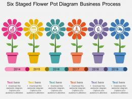 Six Staged Flower Pot Diagram Business Process Flat Powerpoint Design
