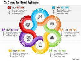 Six Staged For Global Application Flat Powerpoint Design