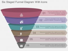 Six Staged Funnel Diagram With Icons Flat Powerpoint Design