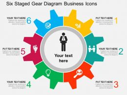 Six Staged Gear Diagram Business Icons Flat Powerpoint Design