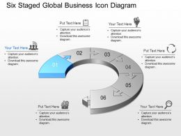 Six Staged Global Business Icon Diagram Powerpoint Template Slide