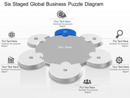 Six Staged Global Business Puzzle Diagram Powerpoint Template Slide