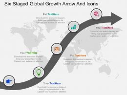 Six Staged Global Growth Arrow And Icons Ppt Presentation Slides