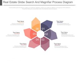 Six Staged Global Search And Process Flow Diagram Powerpoint Slides