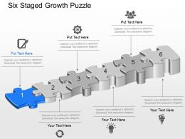 Six Staged Growth Puzzle Powerpoint Template Slide