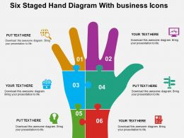 Six Staged Hand Diagram With Business Icons Flat Powerpoint Design