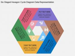 Six Staged Hexagon Cycle Diagram Data Representation Flat Powerpoint Design
