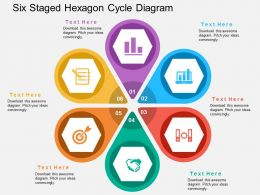 Six Staged Hexagon Cycle Diagram Flat Powerpoint Design Flat Powerpoint Design