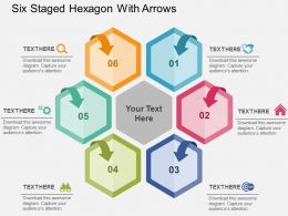 Six Staged Hexagon With Arrows Flat Powerpoint Design