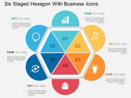 Six Staged Hexagon With Business Icons Flat Powerpoint Design