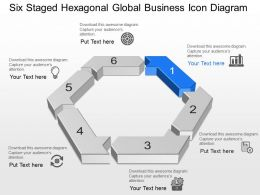 Six Staged Hexagonal Global Business Icon Diagram Powerpoint Template Slide