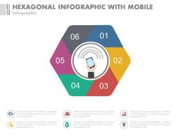 Six Staged Hexagonal Infographics With Mobile Communication Powerpoint Slides