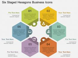 Six Staged Hexagons Business Icons Flat Powerpoint Design