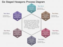 Six Staged Hexagons Process Diagram Flat Powerpoint Design