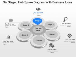 Six Staged Hub Spoke Diagram With Business Icons Powerpoint Template Slide