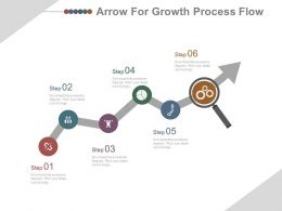 Six Staged Icons Growth Arrow for Process Flow Powerpoint Slides