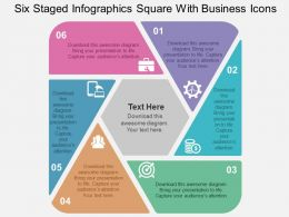 Six Staged Infographics Square With Business Icons Flat Powerpoint Design