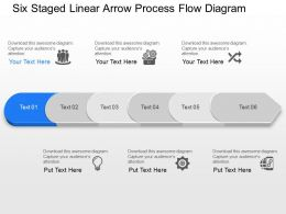 Six Staged Linear Arrow Process Flow Diagram Powerpoint Template Slide
