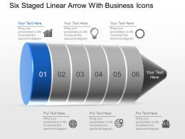 Six Staged Linear Arrow With Business Icons Powerpoint Template Slide