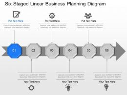Six Staged Linear Business Planning Diagram Powerpoint Template Slide