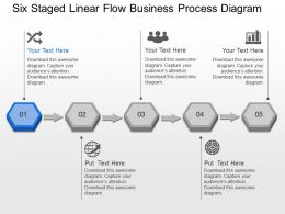 Six Staged Linear Flow Business Process Diagram Powerpoint Template Slide