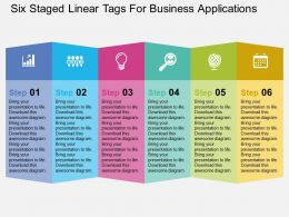 Six Staged Linear Tags For Business Applications Flat Powerpoint Design