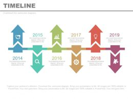 Six Staged Linear Timeline Arrow Year Diagram Powerpoint Slides