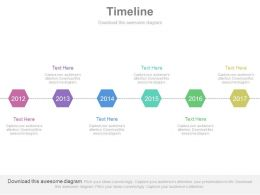 Six Staged Linear Timeline For Business Agenda Powerpoint Slides