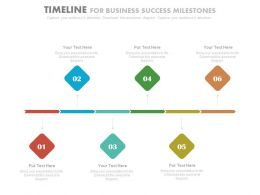 Six Staged Linear Timeline For Business Success Milestones Powerpoint Slides