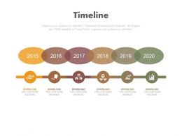 Six Staged Linear Timeline With Business Icons Powerpoint Slides
