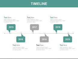 Six Staged Linear Year Based Timeline Diagram Powerpoint Slides