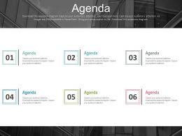 Six Staged Marketing Agenda For Company Powerpoint Slides