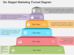 Six Staged Marketing Funnel Diagram Flat Powerpoint Design