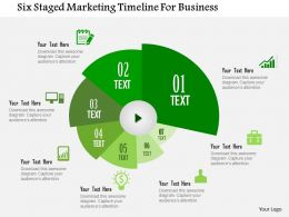 Six Staged Marketing Timeline For Business Flat Powerpoint Design