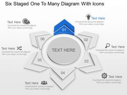 Six Staged One To Many Diagram With Icons Powerpoint Template Slide