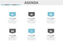 Six Staged Option Business Agenda Diagram Powerpoint Slide