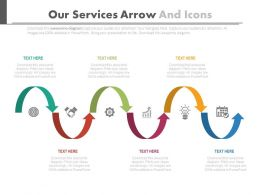 Six Staged Our Services Arrow And Icons Flat Powerpoint Design
