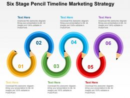Six Staged Pencil Timeline Marketing Strategy Flat Powerpoint Design