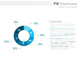Six Staged Pie Chart With Icons For Business Data Powerpoint Slides