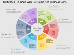 Six Staged Pie Chart With Text Boxes And Business Icons Flat Powerpoint Design