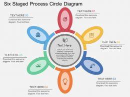 Six Staged Process Circle Diagram Flat Powerpoint Desgin