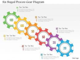 Six Staged Process Gear Diagram Flat Powerpoint Design