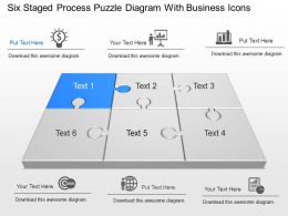 Six Staged Process Puzzle Diagram With Business Icons Powerpoint Template Slide