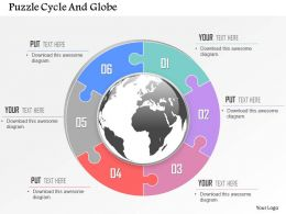 Six Staged Puzzle Circle And Globe Ppt Presentation Slides
