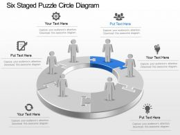 Six Staged Puzzle Circle Diagram Powerpoint Template Slide