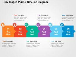 six_staged_puzzle_timeline_diagram_flat_powerpoint_design_Slide01
