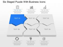 Six Staged Puzzle With Business Icons Powerpoint Template Slide