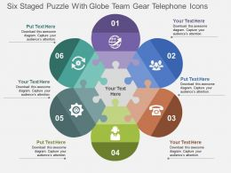 six_staged_puzzle_with_globe_team_gear_telephone_icons_flat_powerpoint_design_Slide01
