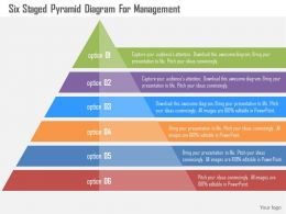 Six Staged Pyramid Diagram For Management Flat Powerpoint Design