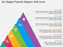 Six Staged Pyramid Diagram With Icons Flat Powerpoint Design